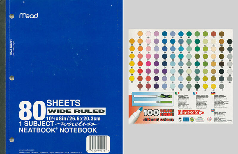 """C -print """"notebook, 80 sheets"""" and """"color palette"""""""